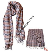 Check thin shawl