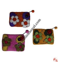 Ladybug Patch Felt Coin Purse