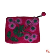 Needle-felt Flower Coin Purse2