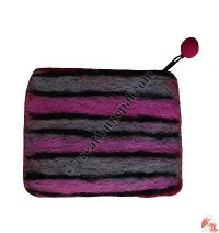 Needle-felt Stripes Coin Purse