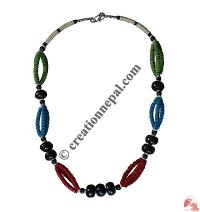 Colorful bone beads necklace