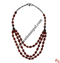 Flat shape stone beads necklace