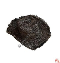 Black-natural hemp round hat