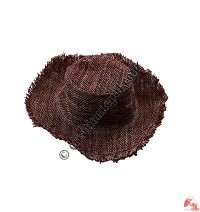 Red-natural hemp round hat