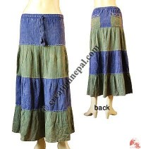 Horizontal 2-color joined long skirt