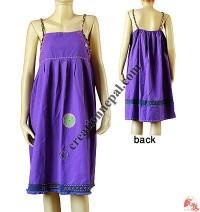 Fine cotton plain halter dress