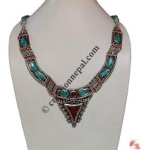 Coral-Turquoise Tibetan necklace4