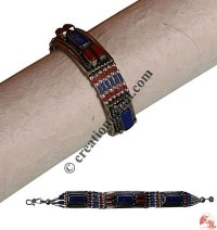Lapis-coral beads bracelet