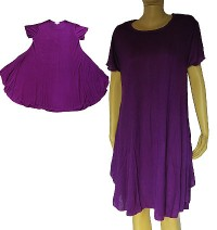 Plain color short sleeves viscose dress