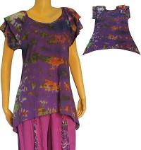 2-layer cap sleeves tie-dye top