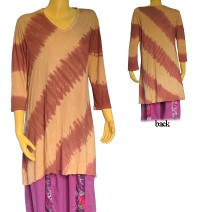 Slanted tie dye stripes viscose dress