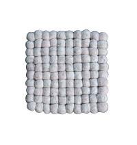 Square shape light Grey felt balls Plate Mat