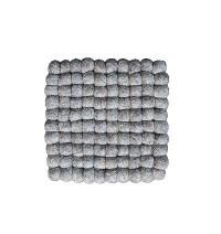 Square shape naturall Brown felt balls Plate Mat