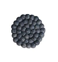 Charcoal felt balls circle shape tea coaster