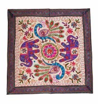Elephant-Peacock arts square table cover