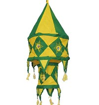 Yellow-Green color Small cotton jhumar lamp shade