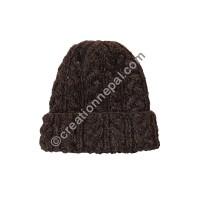 Cable design woolen cap - Brown