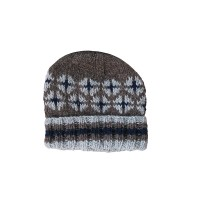 Stripy border woolen watch cap