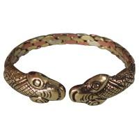 2 snake head beaten bangle