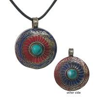 Coral-Lapis-Turquoise round pendent