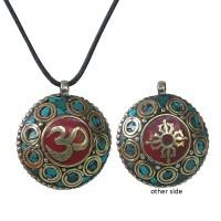 2-sides decorated Sanskrit Om pendent