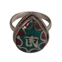 Tibetan Om white metal finger ring
