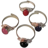 Assorted stone white metal finger ring3