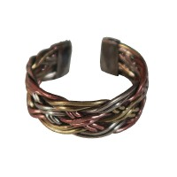 Raw braided 3-metal finger ring
