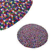Felt balls round rug - 120 cm