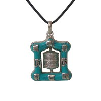 Mantra prayers wheel turquoise pendent