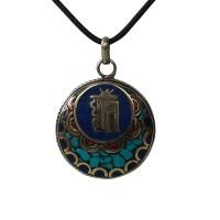 Decorated Kalachakra round pendent