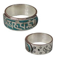 Carved white metal Mantra finger ring1