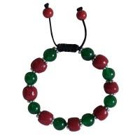Jade-coral beads bracelet