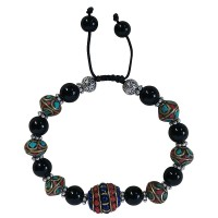 Black onyx and decorated beads bracelet