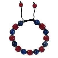 Lapis-coral 10mm beads bracelet
