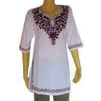 Embroidered cotton white kurtha top1
