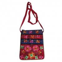 Leather suede 3-zipper floral passport bag