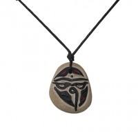 Buddha Eye - Om carved stone pendent