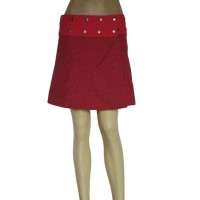 Prints and plain red reversible skirt
