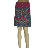 Printed poplin cotton reversible skirt