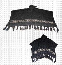 Hooded woolen poncho 1