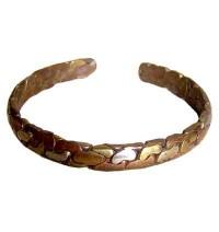 Mixed metal beaten bracelet