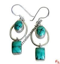 Turq 2- stone silver earing
