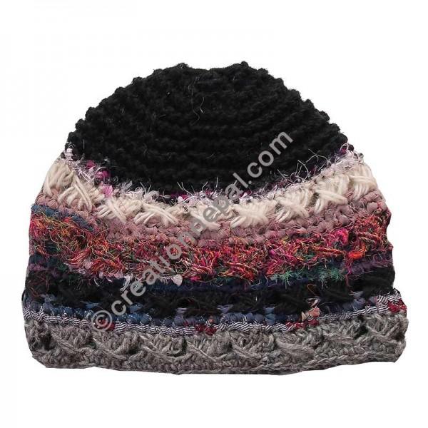 eeaec3057b4ea Creation Nepal Wool and silk stripes black cap Handicrafts Clothing ...
