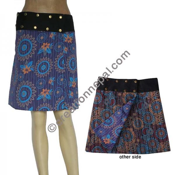 58b201060bece Creation Nepal Purple and Grey stripes reversible skirt Handicrafts Clothing