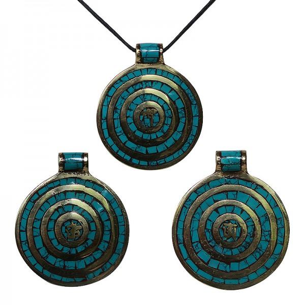 Brass /& Turquoise Pendant